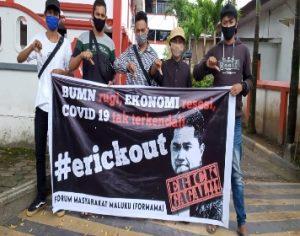 Forum Masyarakat Maluku Gelar Aksi Demo Tuntut Copot Jabatan Menteri BUMN